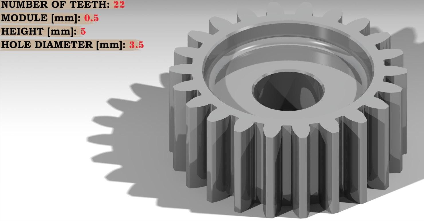 spur gear teeth: 22 3D model