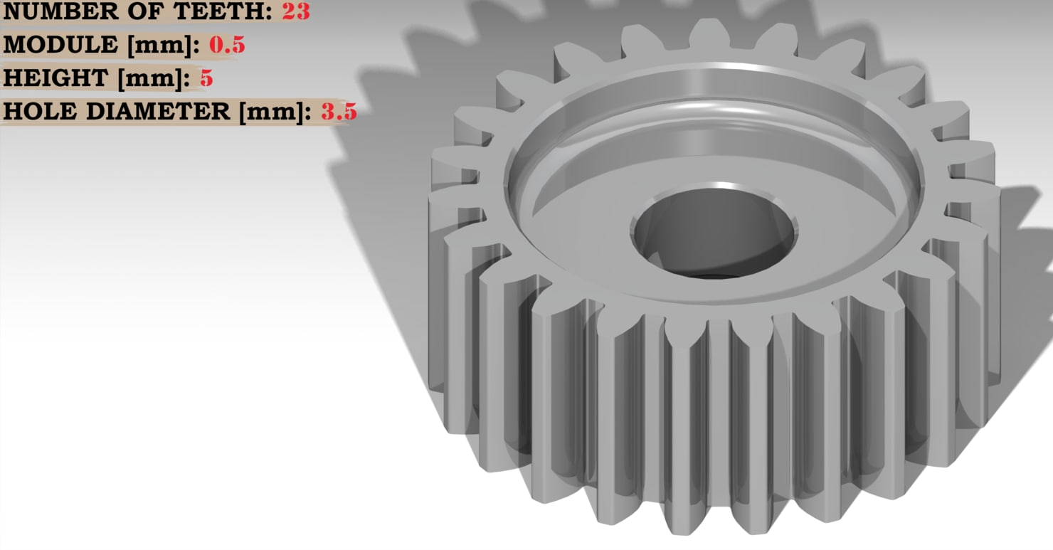 3D model spur gear teeth: 23