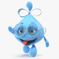 3D water drop cartoon lady character model