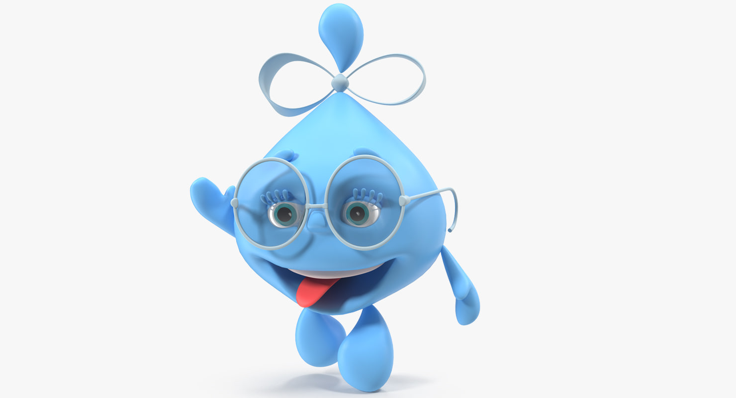 3D water drop cartoon lady character model
