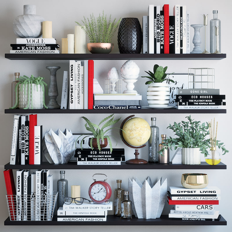 books shelves decor 3D