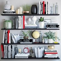 books shelves decor 3D
