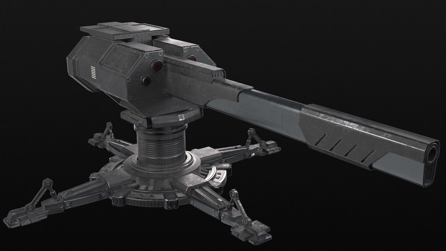 pbr sci-fi turret 3D model