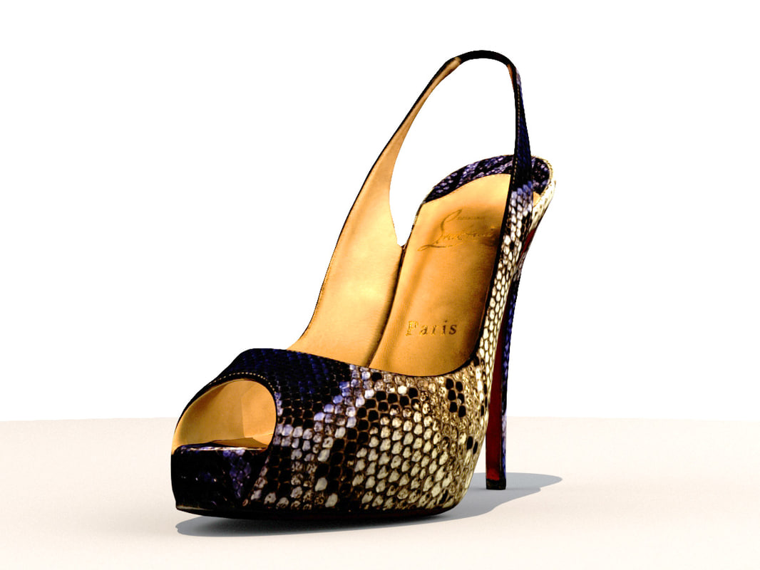 3D model christian louboutin peeptoe heels