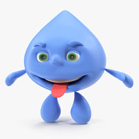 water drop cartoon mascot 3D model