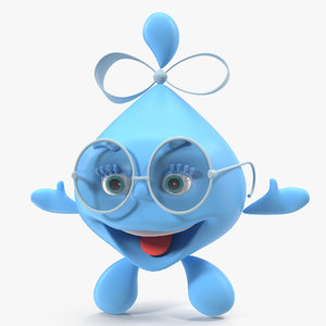 water droplet cartoon lady character 3D