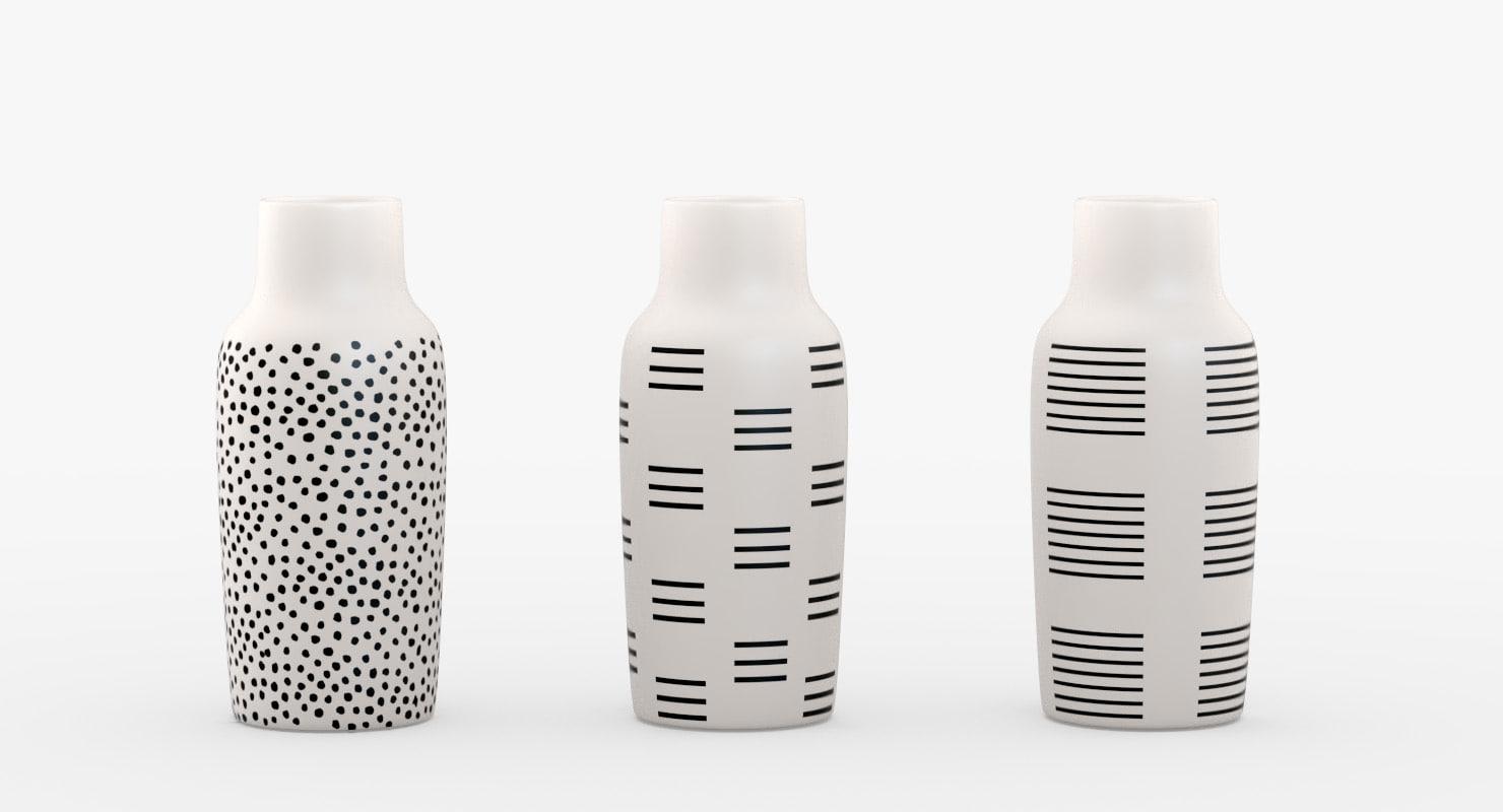 bottle vases black white 3D model