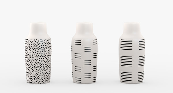 bottle vases black white 3D model