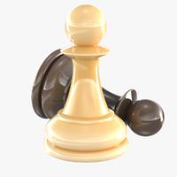 3D model chess pawn