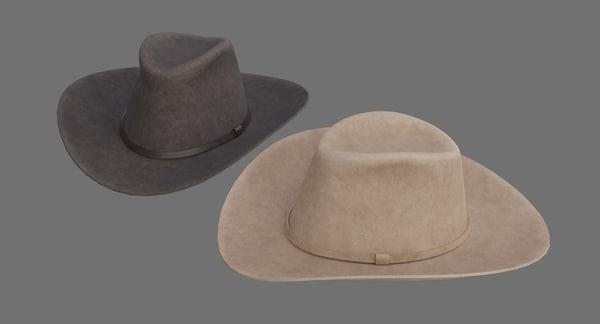3D model cowboy hat 1b
