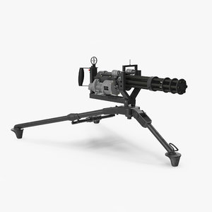 m134 minigun tripod mounted 3D model