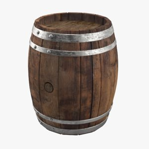 3D old wine barrel