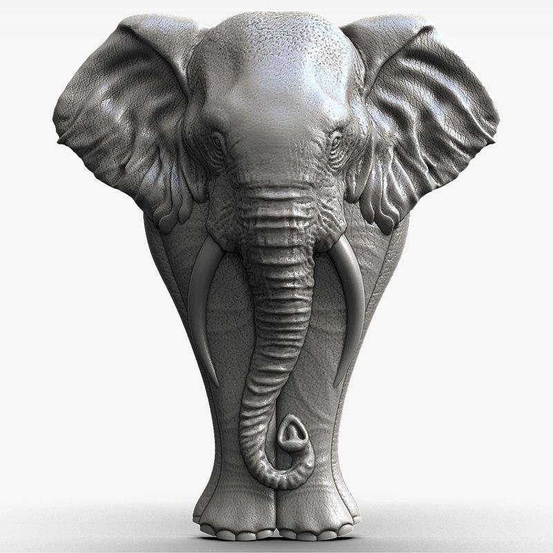 3d model elephant bas-relief sculpture cnc