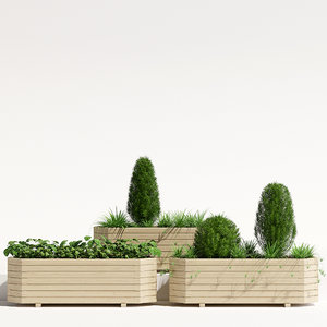 3D pine octagonal trough planter