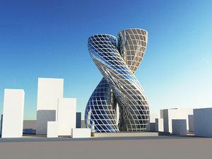 3D futuristic skyscrapers scene model