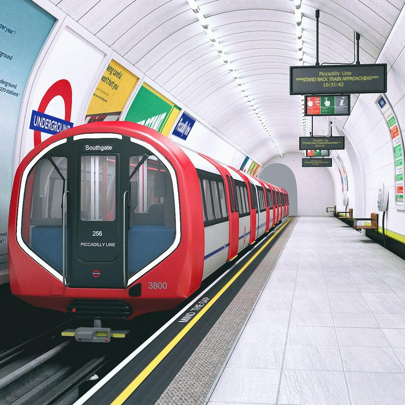 scene underground tube station train model