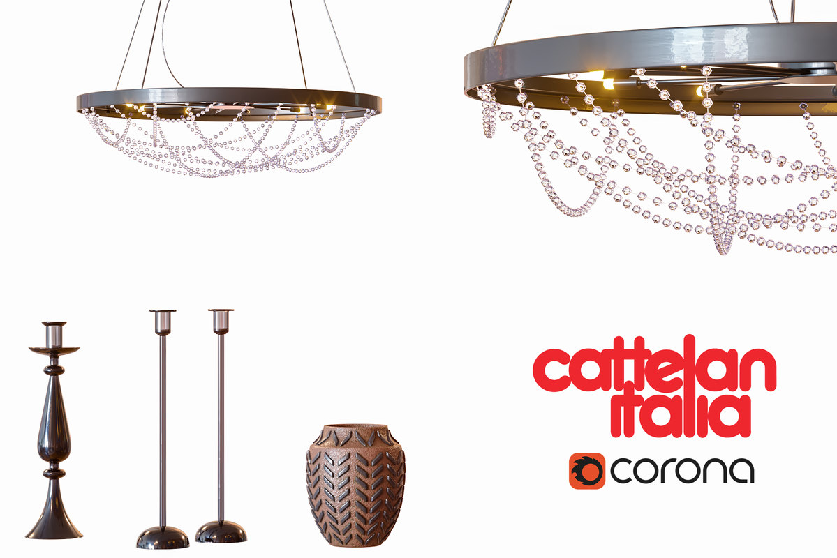 3D chandelier cristal decor