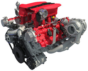 3D model twin turbocharged v8 engine