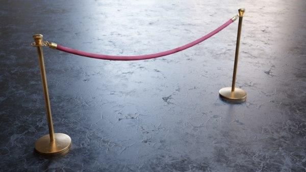 brass stantions velvet rope 3D