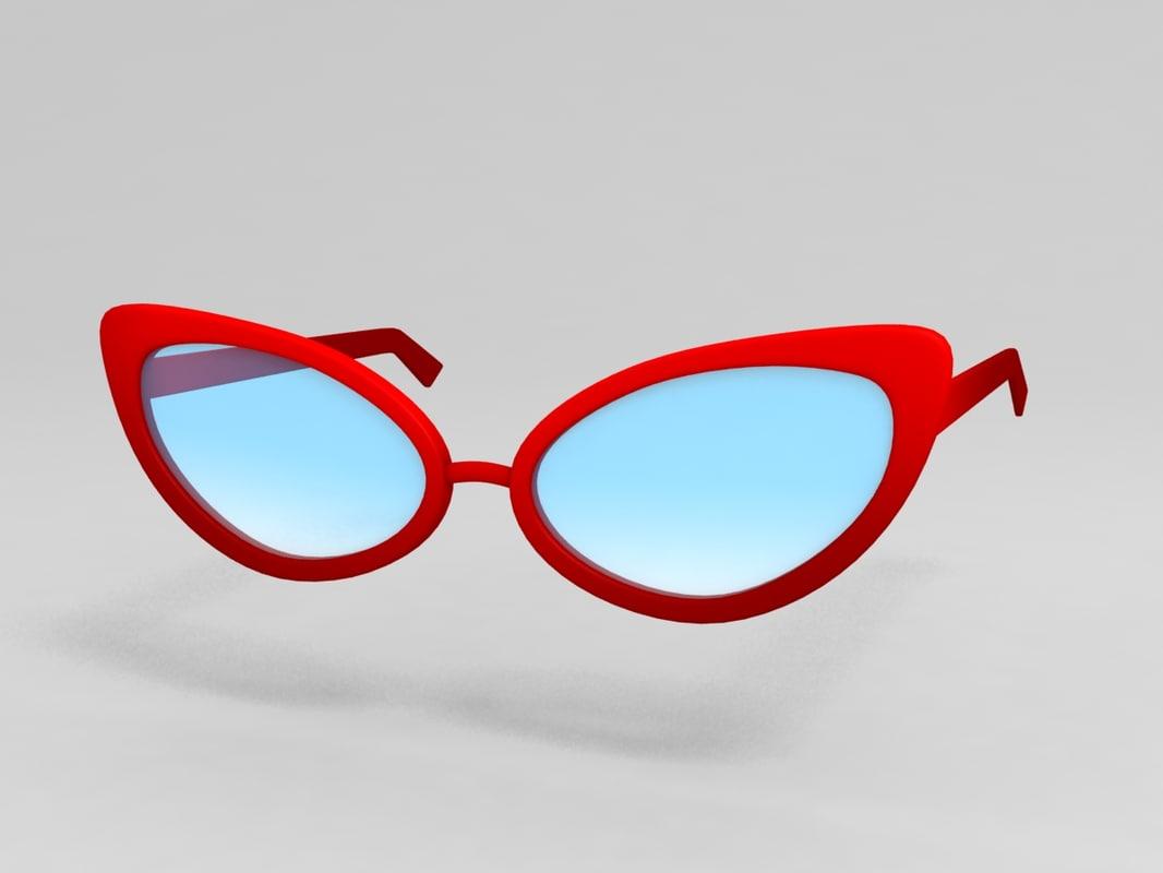 cat eye glasses 3D model