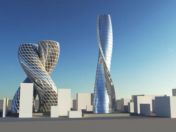 3D model futuristic skyscrapers scene