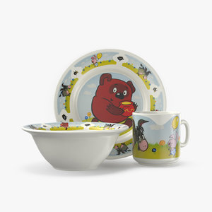 3D set children s tableware