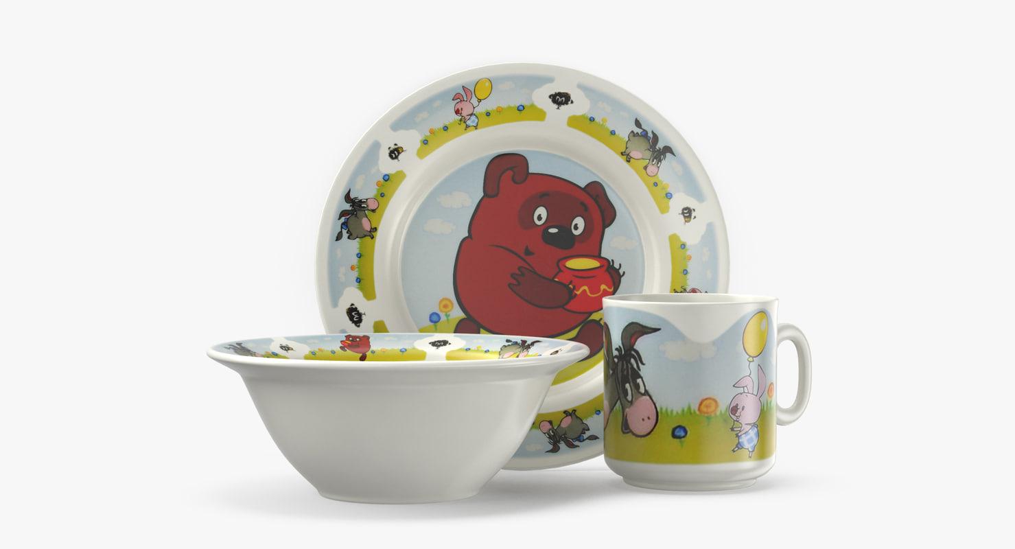 3D set children s tableware
