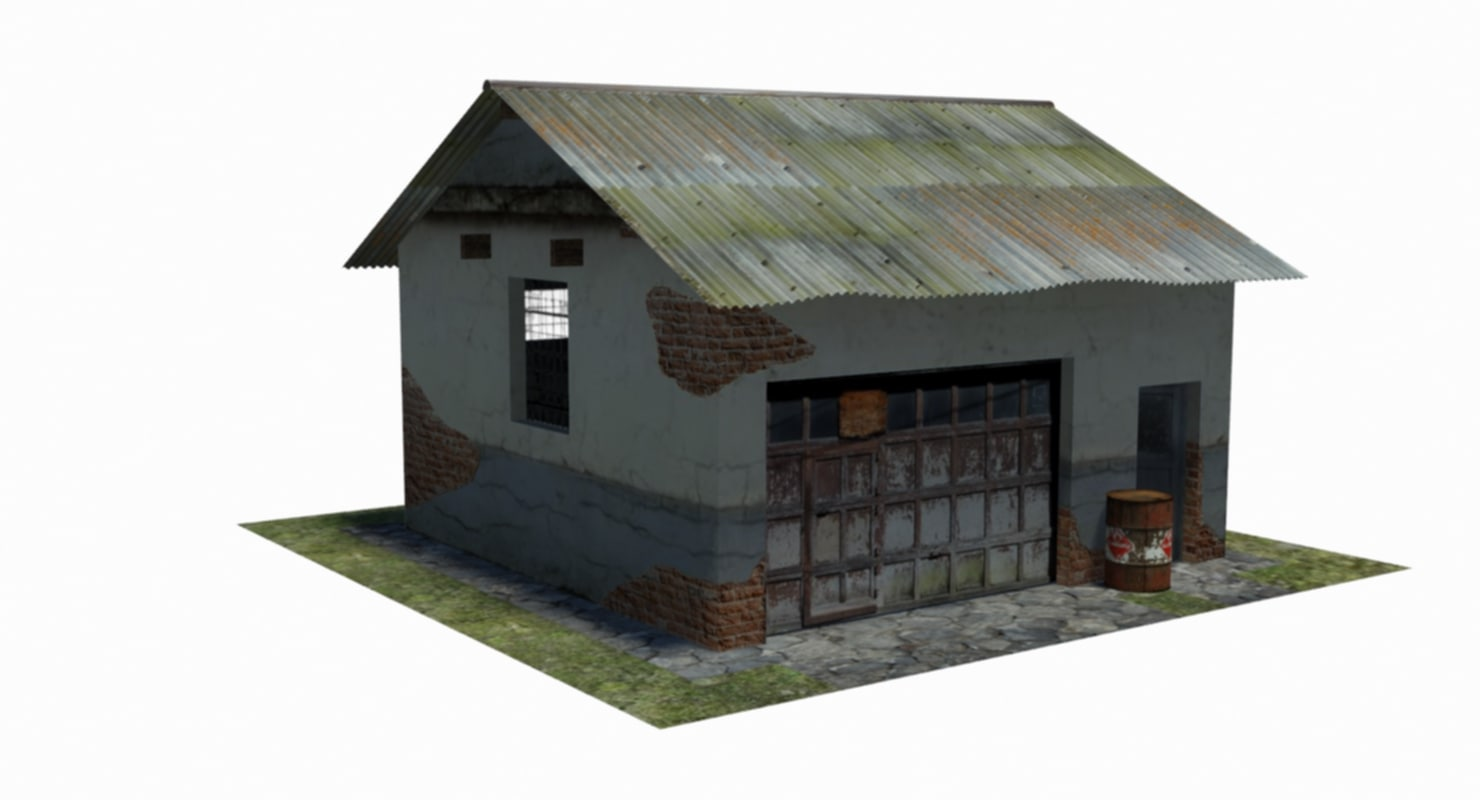 3D model old abandoned garage