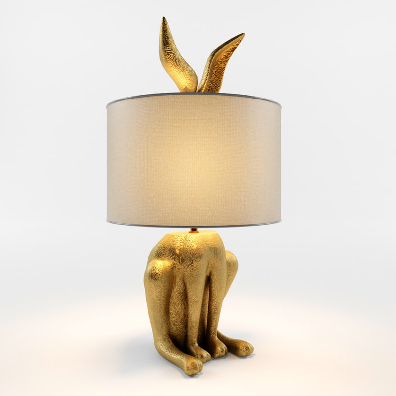 3D model gilded hare lamp ensemble