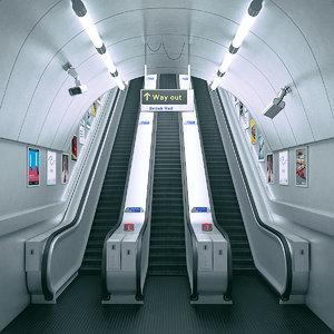 3D scene underground tube escalator