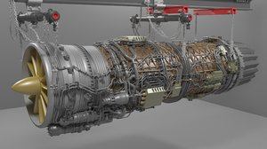 turbo jet engine 3D