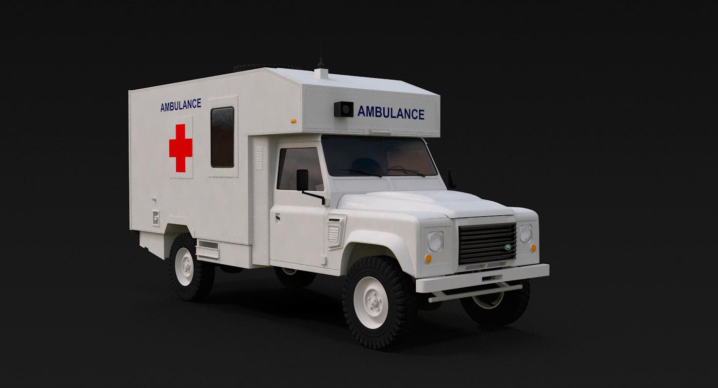 3D land rover defender white model