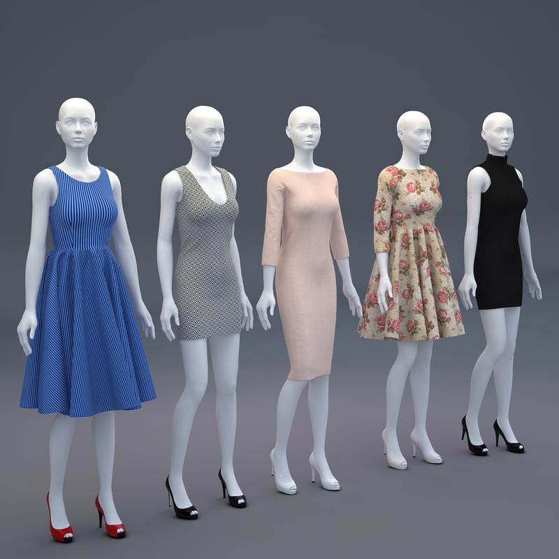 mannequin woman cloth shop 3D
