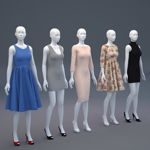 mannequin woman cloth shop 3D