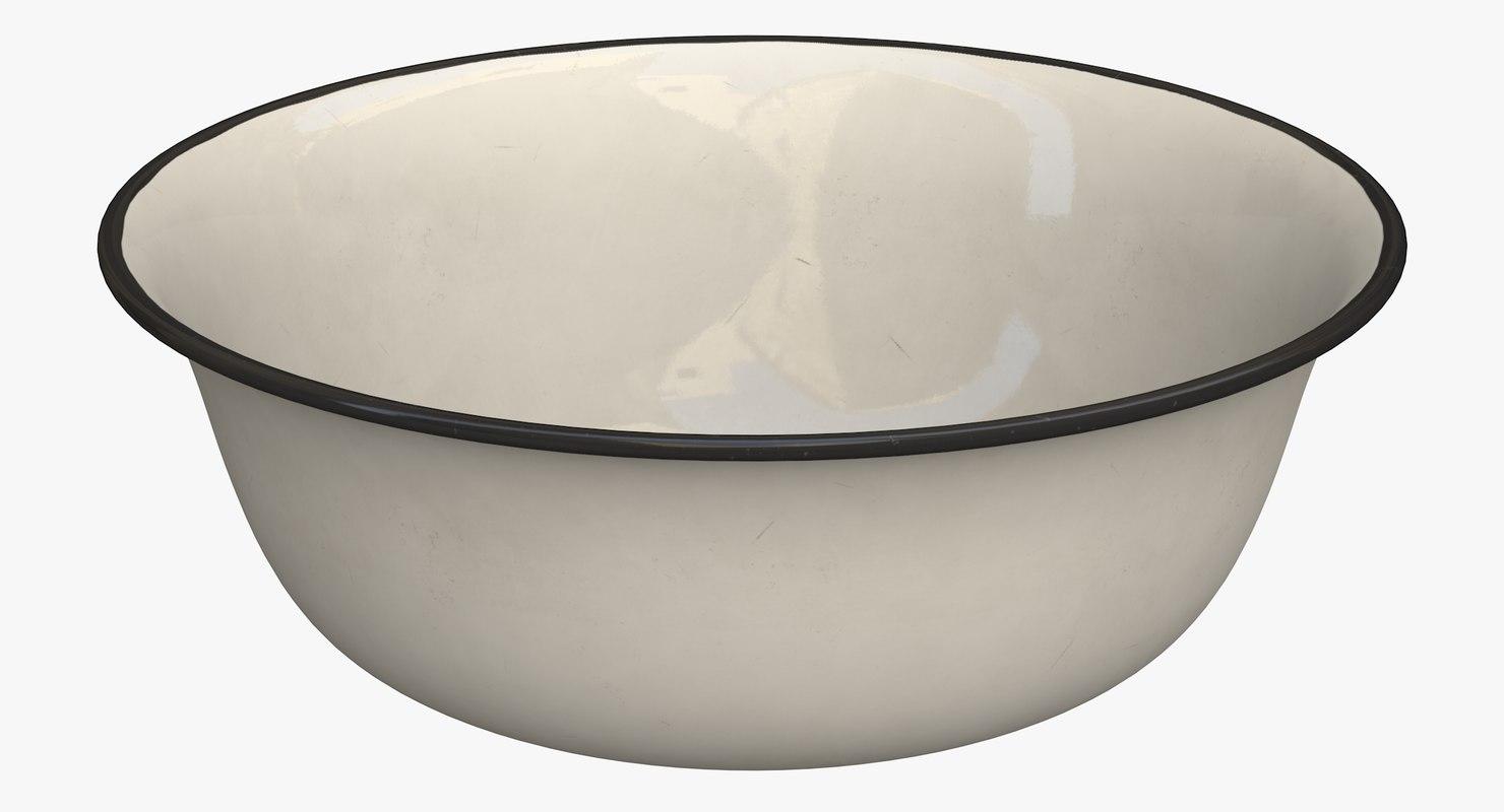 3D enameled basin