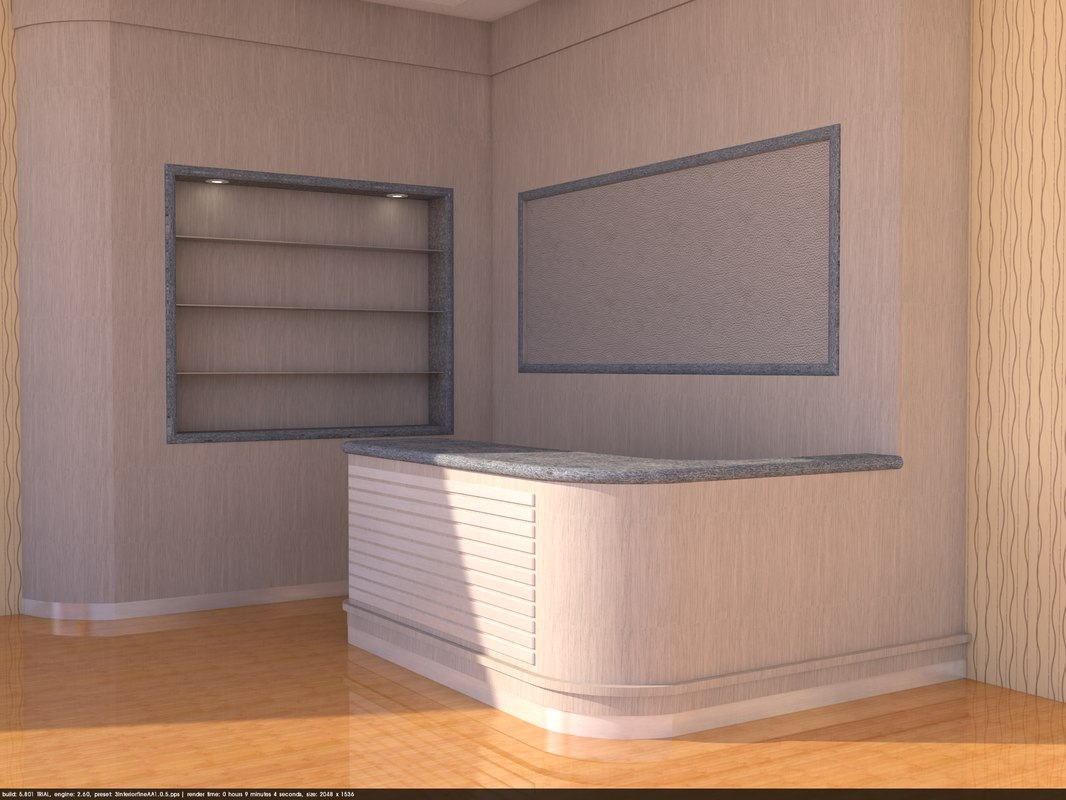3D model desk counter