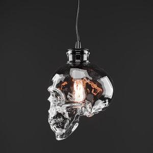 3D chandelier glass skull pendant