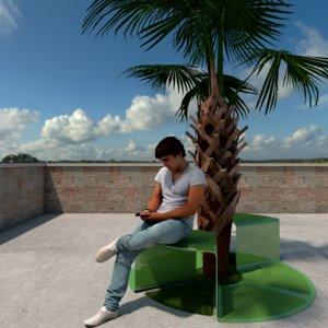 3D bench decorative landscape