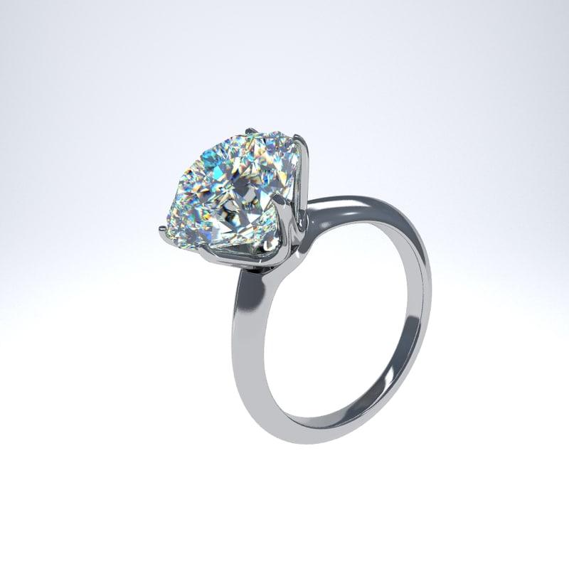 3D platinum engagement ring diamond model
