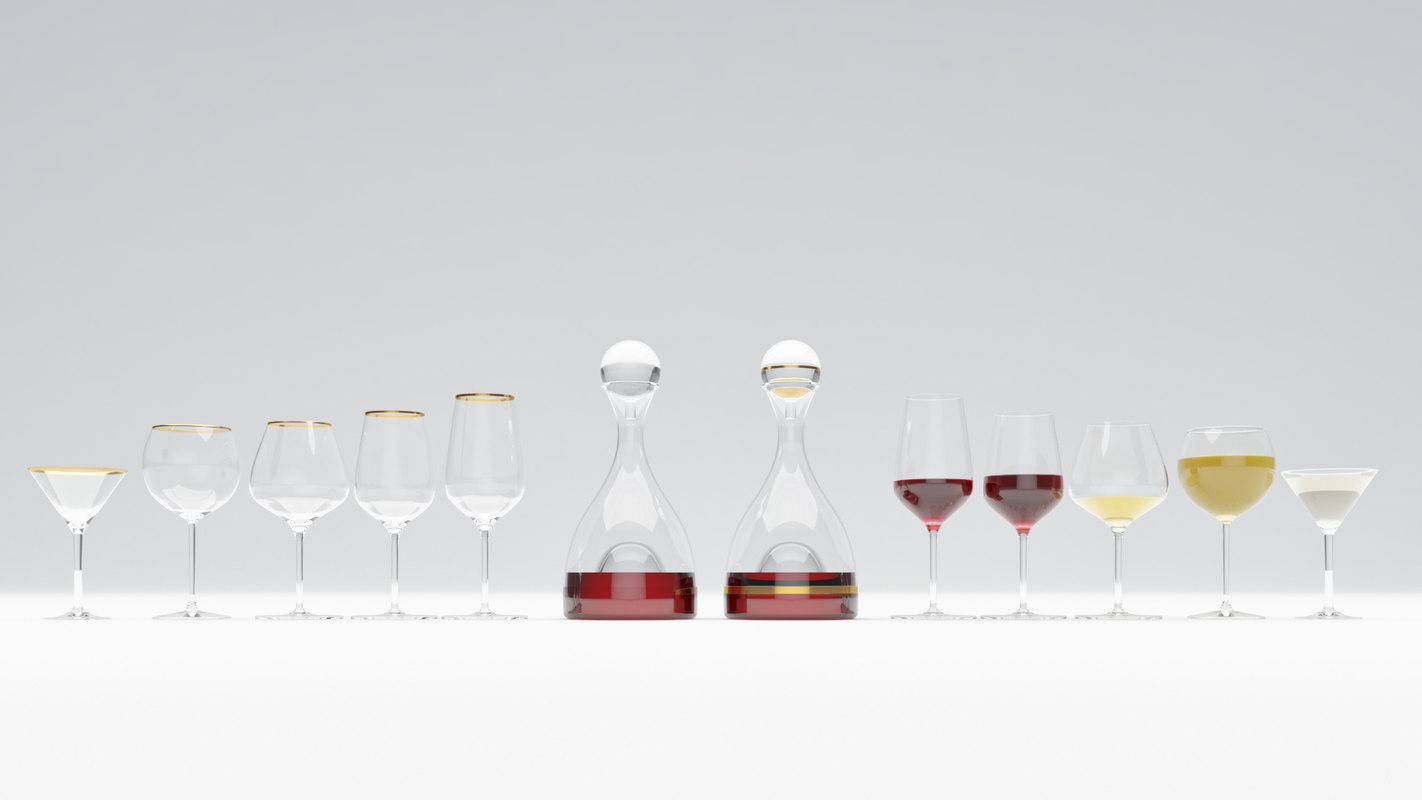 3D wine glasses decanter model
