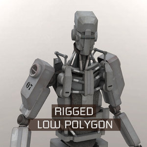 3D android robot rigged model