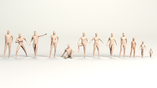 minimalistic people 3D model