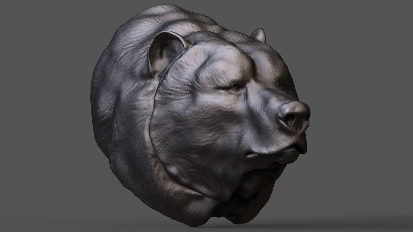 3D bear s head model