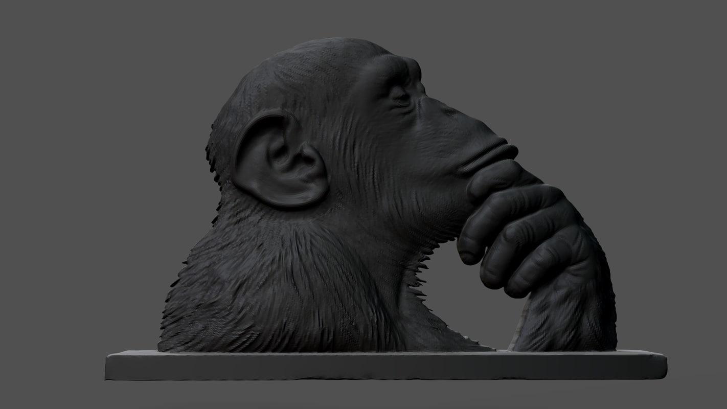 chimpanzee statue 3D model