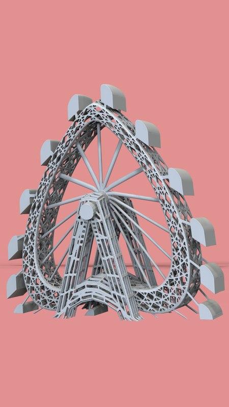 heart-shaped ferris wheel figurine 3D