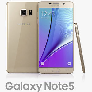 samsung galaxy note5 gold 3d model
