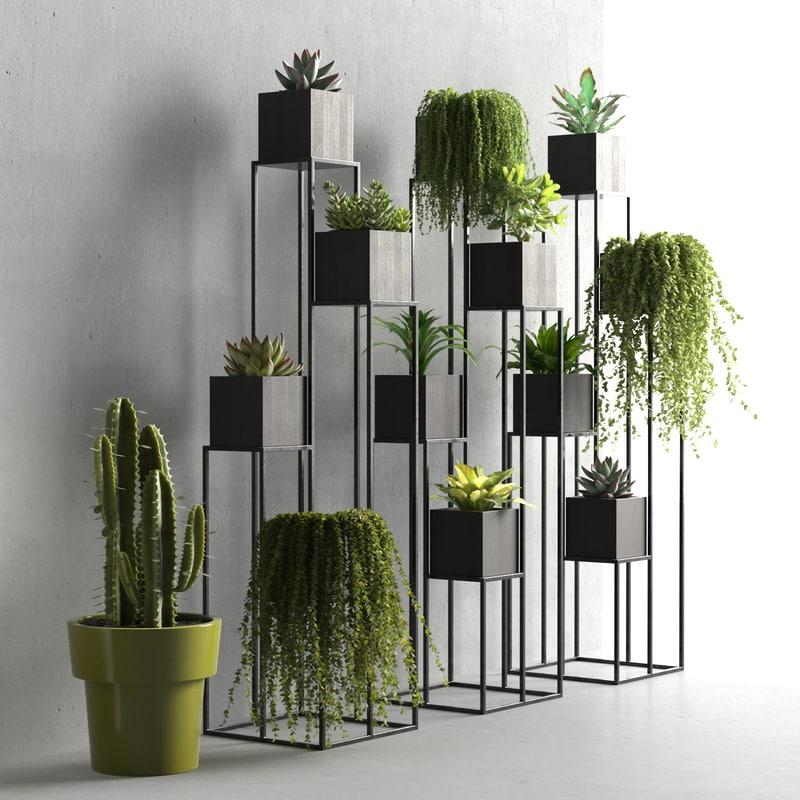 3D model quadrant plant stand