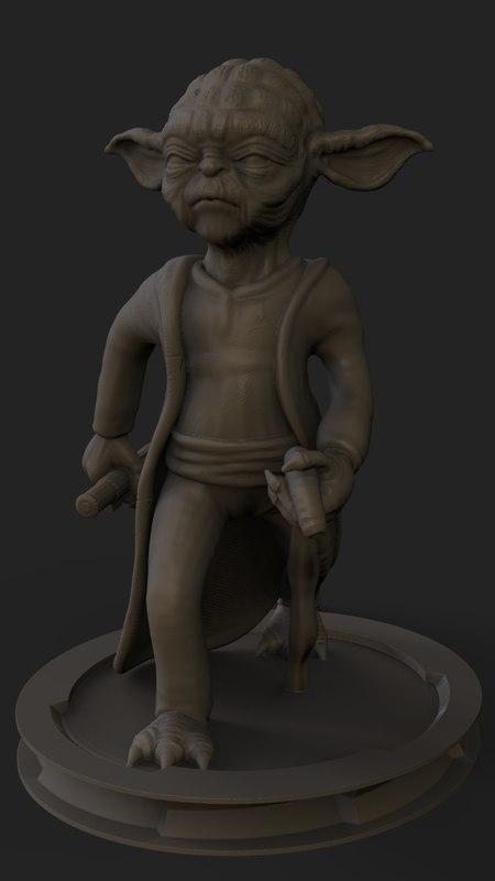 3D yoda figurine model