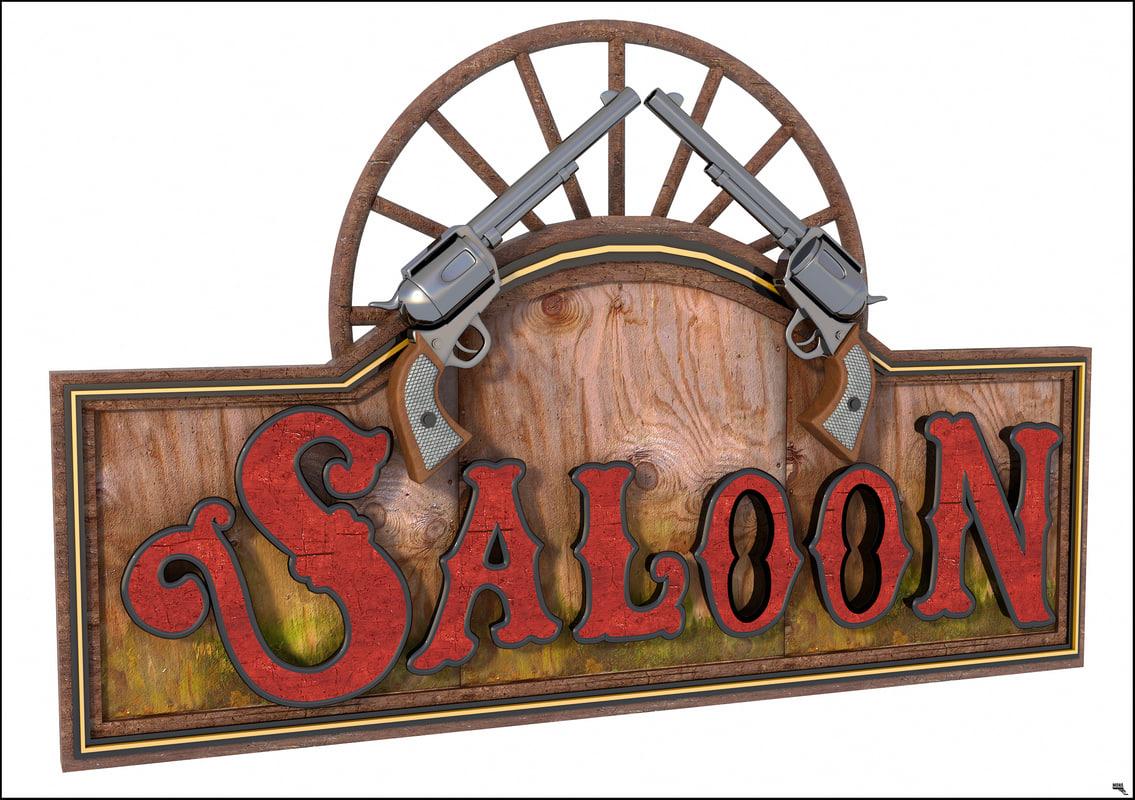 3D western label saloon