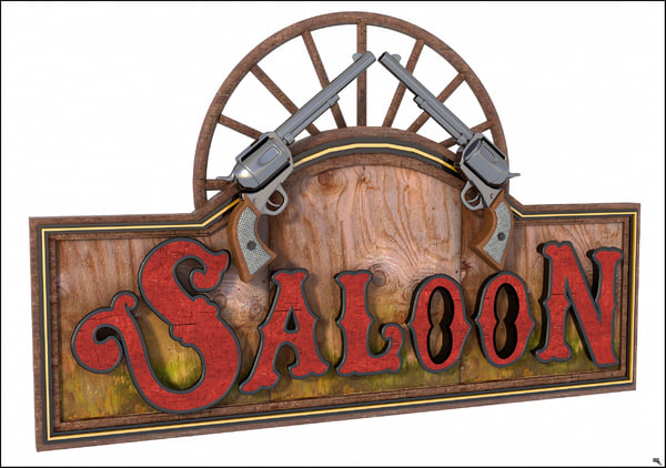 3D western label saloon